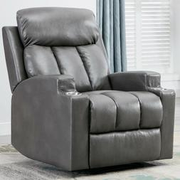 PU Leather Recliner Chair with 2 Cup Holders Contemporary Ho