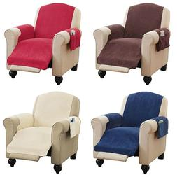Faux Chenille Recliner Chair Furniture Cover & Pockets 4 Col