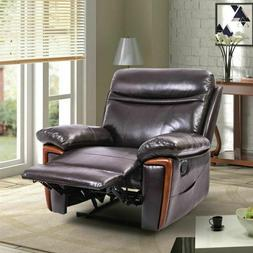 Faux Leather Massage Recliner Arm Chair with Heat Brown Lazy