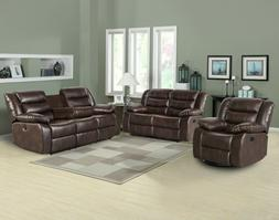 Faux Leather Reclining 3 Piece Living Room Set Chair Lovesea