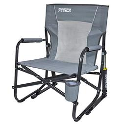 GCI Outdoor FirePit Rocker Mercury Gray Camping Chair, New