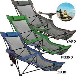 Green/Blue/Gray Reclining Folding Camp Chair W/ Footrest Lou