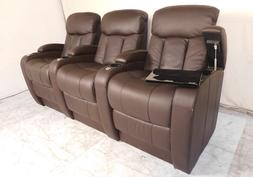 Seatcraft Grenada Back Row of 3 Leather Home Theater Seats M