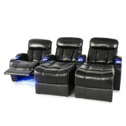 Seatcraft Grenada Home Theater Seating Black Leather Gel Row