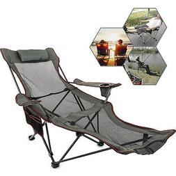 Grey Reclining Folding Camp Chair With Footrest Nap Chair Br