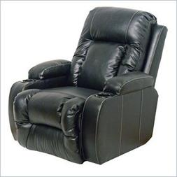 Catnapper Top Gun Leather-Power Chaise Recliner Chair in Bla