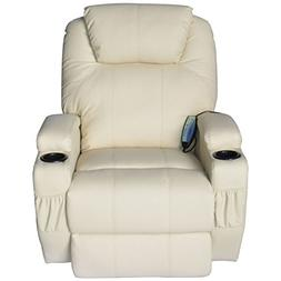 HomCom Heated Vibrating PU Leather Massage Lounge Seat Recli
