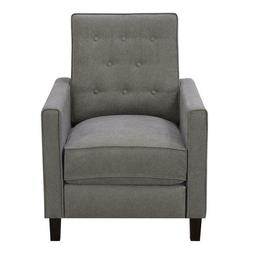 Home Fare Tufted Upholstered Pushback Recliner in Ash Grey