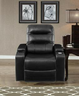 Home Theater Recliner Chair Armchair Seat Black Faux Leather