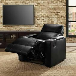Home Theater Recliner Synthetic Leather Storage Cup Holder C