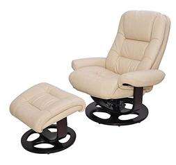 Barcalounger Jacque II Leather Recliner & Ottoman - ivory