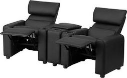 Kid's Black Leather Reclining Theater Seating with Storage C