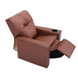 Kids Recliner with Cup Holder Brown Leather Sofa Chair Recli