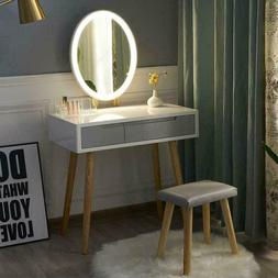Vanity Dressing Table Set Makeup LED Lighted Mirror Cushione