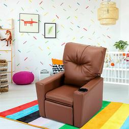 Kids Sofa Manual Recliner Leather Ergonomic Lounge w/Cup Hol