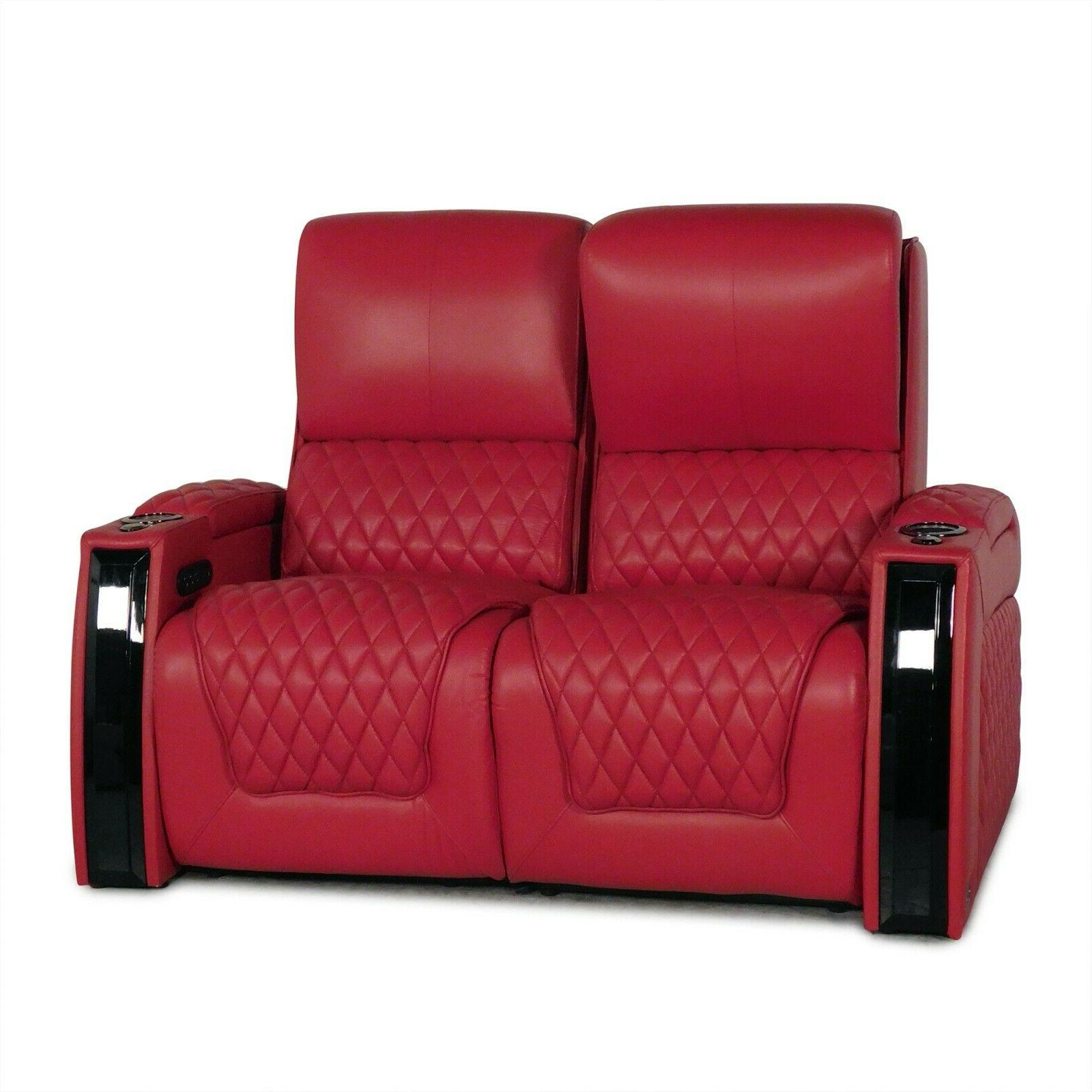 Seatcraft Red Home Theater Loveseat Power