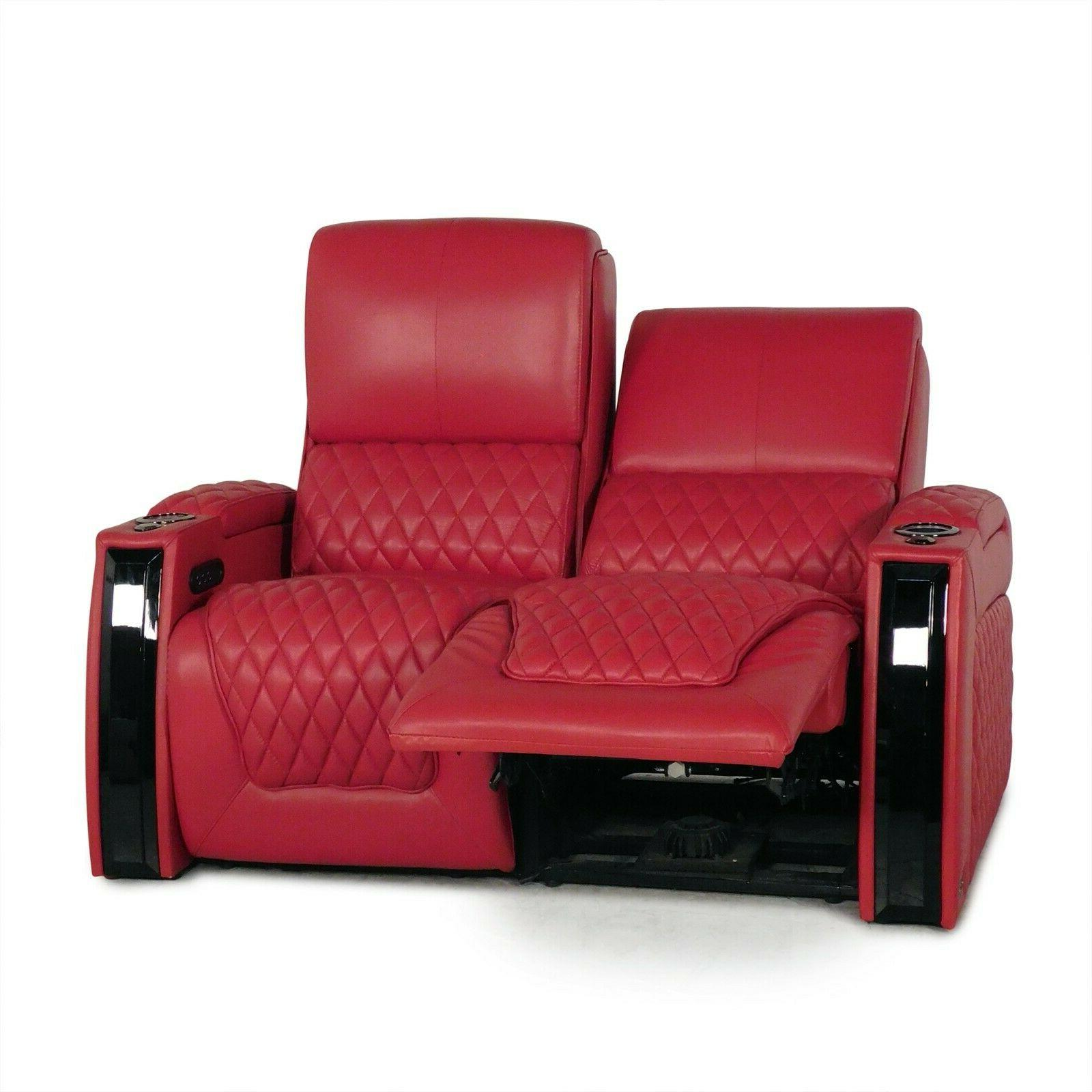 Seatcraft Red Leather Home Theater Loveseat Power Recliners