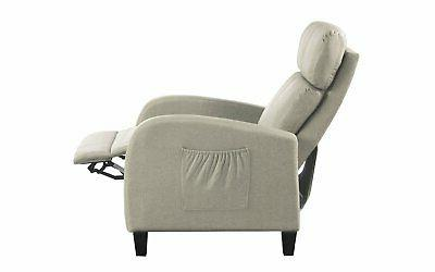 Beige Small Space Linen Fabric Chair Control