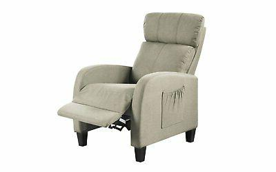 Beige Space Fabric Chair Plush Back Pocket for Control