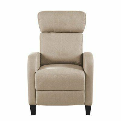 beige small space linen fabric chair plush