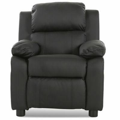 Black Deluxe Padded Kids Sofa Armchair Recliner Headrest Chi