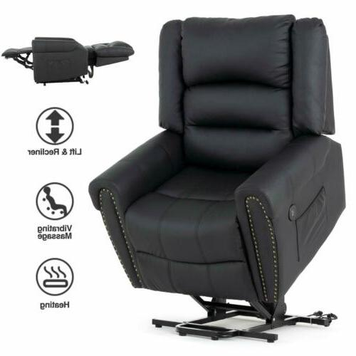 massage reclining lift chair leather vibrating heated