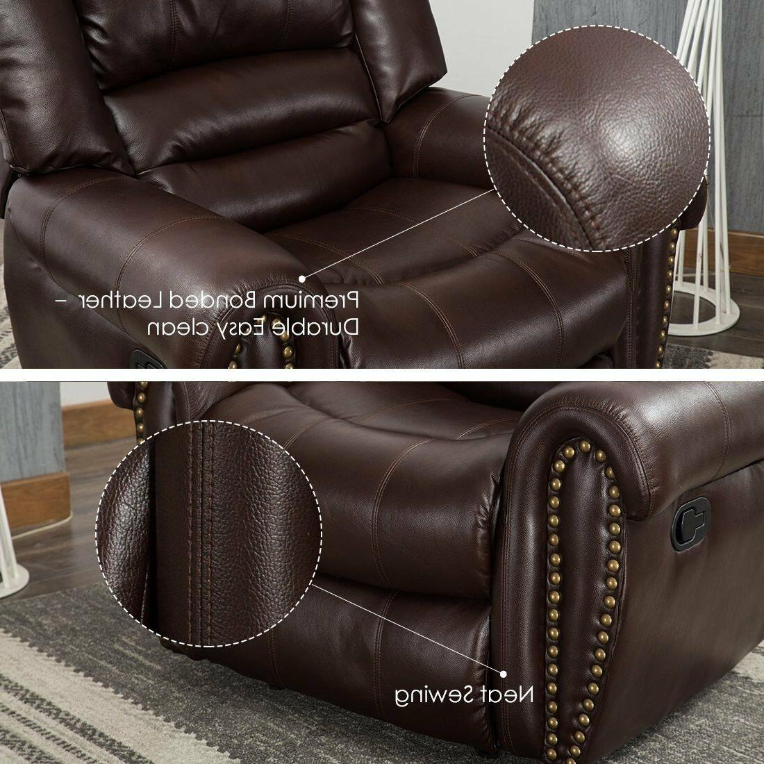 Leather Chair Living Room Overstuffed Backrest