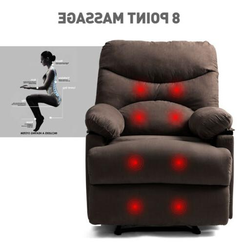 Manual Recliner Chair Heated Microfiber