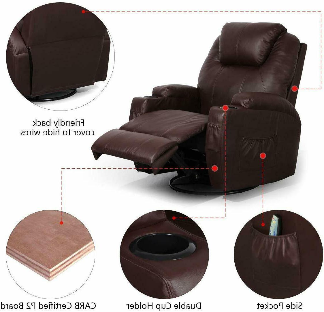 Brown Heated Leather Lounge 360