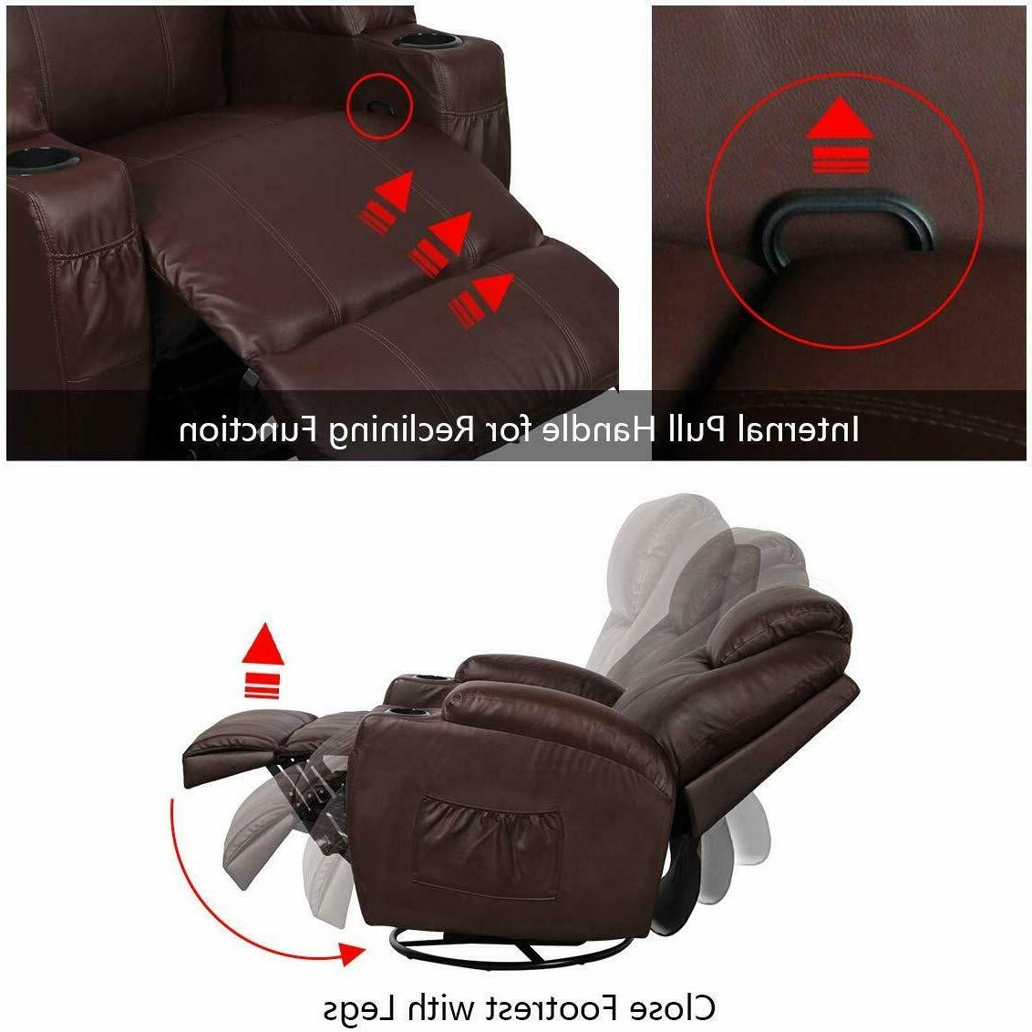Brown Heated Leather Ergonomic Lounge