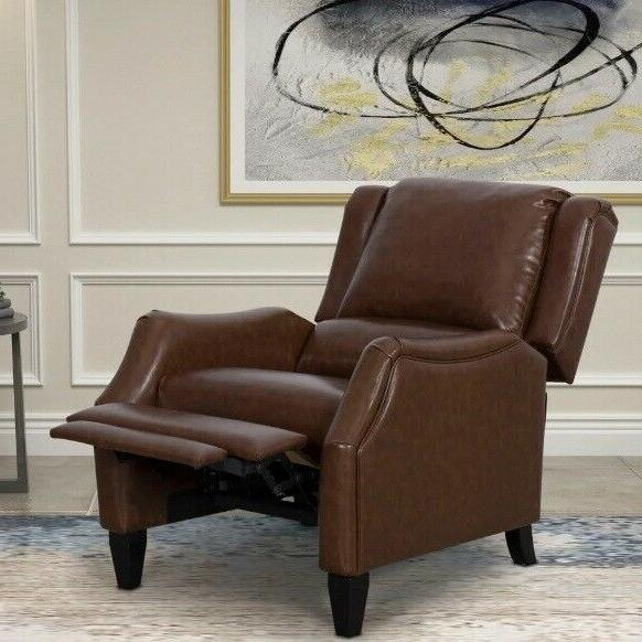 brown pushback accent recliner arm chair manual