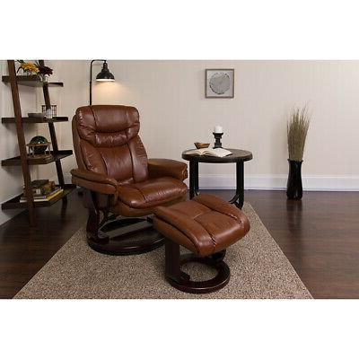 Brown Vintage LeatherSoft Recliner and Curved Ottoman with M