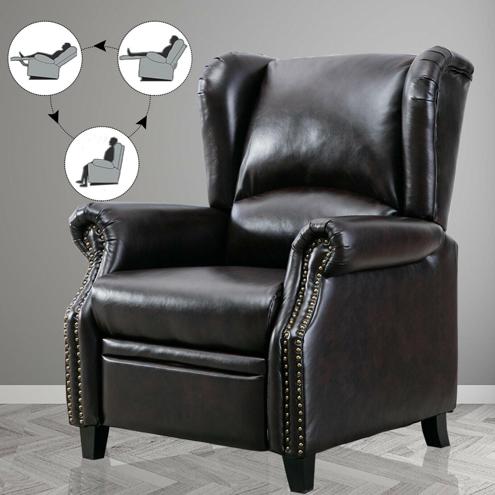Faux Leather Reclining Chair Accent Push Back Arm Couch Sofa
