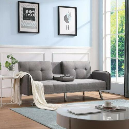 Convertible Foldable Sofa Upholstery Futon Chair Foam Couch