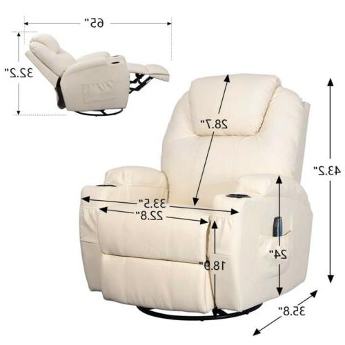 Cream Massage Chair Heated Leather Lounge Degree