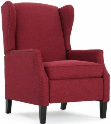 deep red wingback accent club recliner chairs