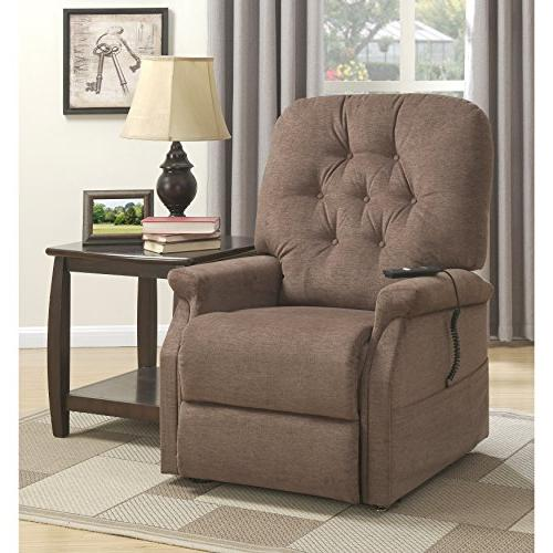 Pulaski DS-A282-016-351 Button Tufted Lift Chair in Brown