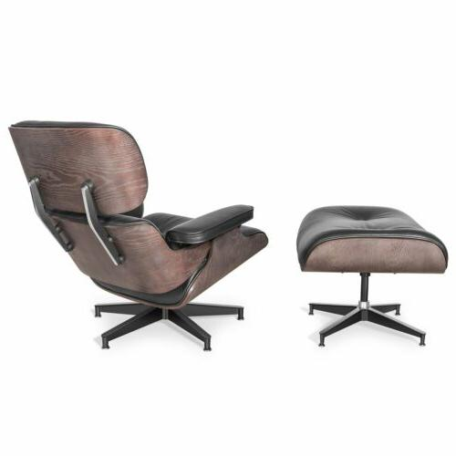 Eames Style Chair & Ottoman Aniline Leather