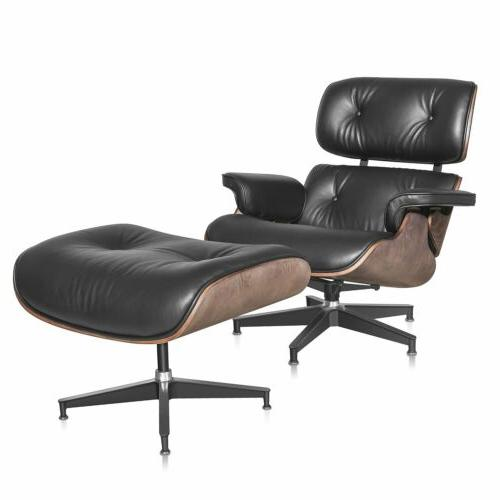Eames Style Lounge & Ottoman Leather G5Y8