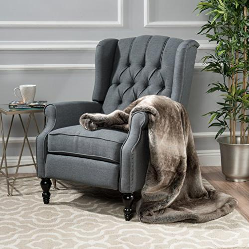 GDF Studio Elizabeth Tufted Charcoal Fabric Recliner Arm Cha
