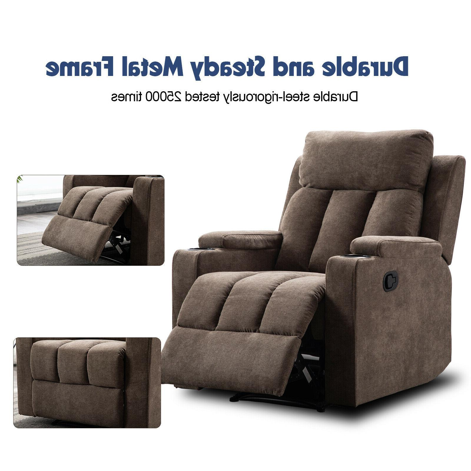 Manual Chair Room Recliner Cup Holders Lounge