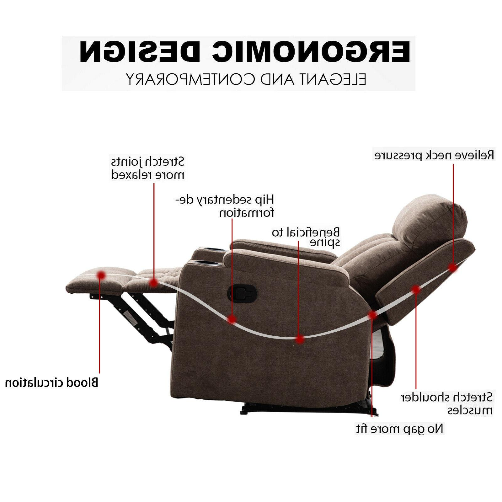 Manual Living Room Theater Recliner with Cup Holders