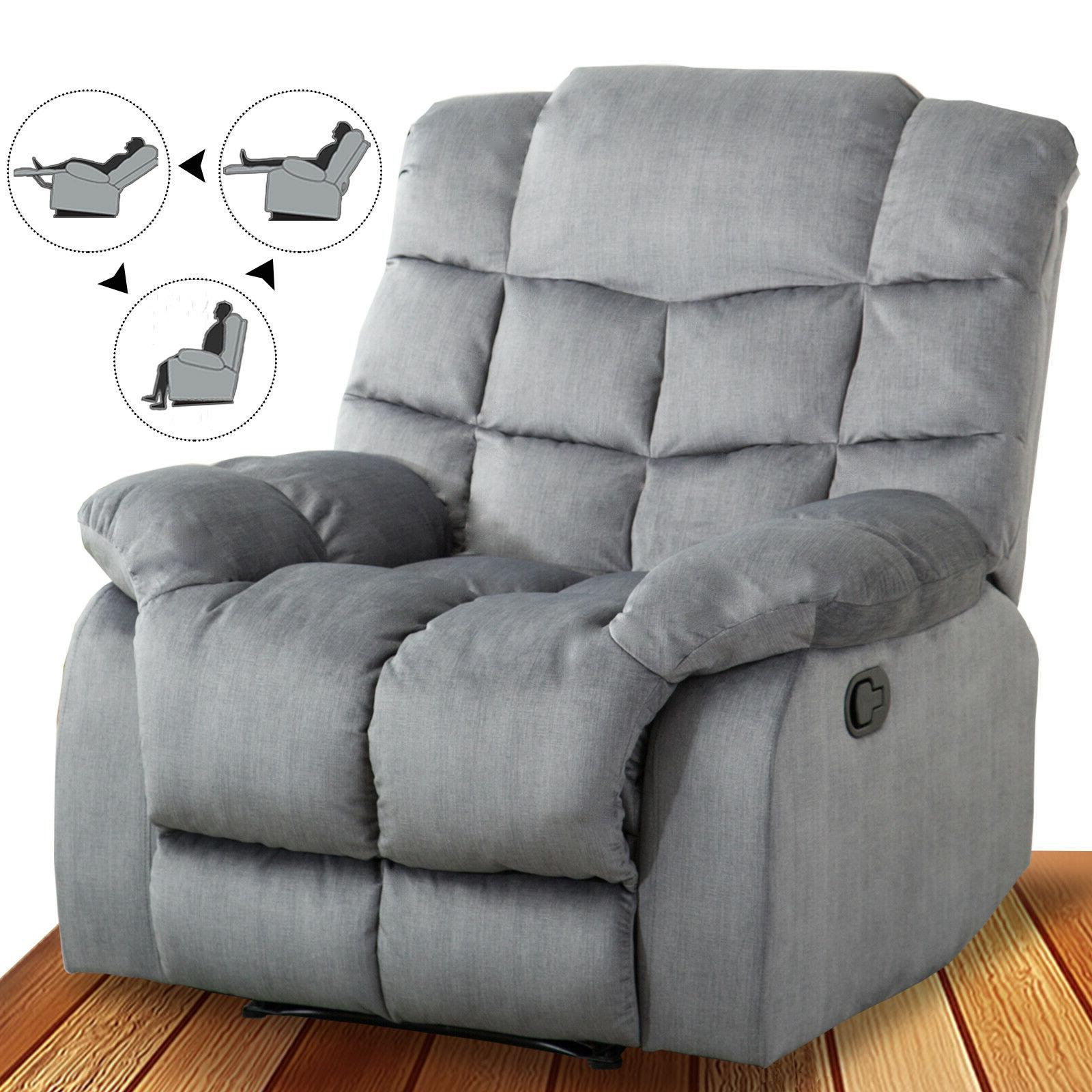 fabric recliner chair overstuffed manual reclining couch