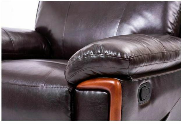 Faux Recliner Arm Chair with Heat Brown Seat