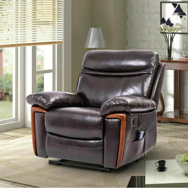 Faux Leather Massage Recliner Arm Heat Brown Style Seat