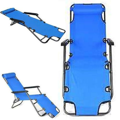Folding Reclining Chair Camping Chaise Lounge Outdoor Portab