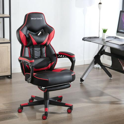 Gaming Chair Racing Style Seat Swivel Footrest