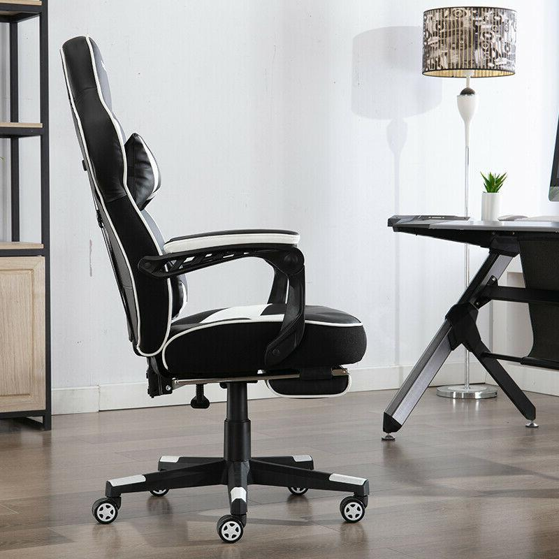 Gaming Racing Style Leather Recliner Seat Footrest