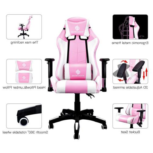 Gaming Chair Recliner Racing Chair RGB LED Lumbar Support