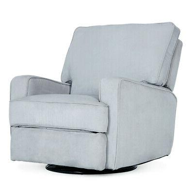 Padded Upholstered Extra Cushion Full Swivel Glider Recliner